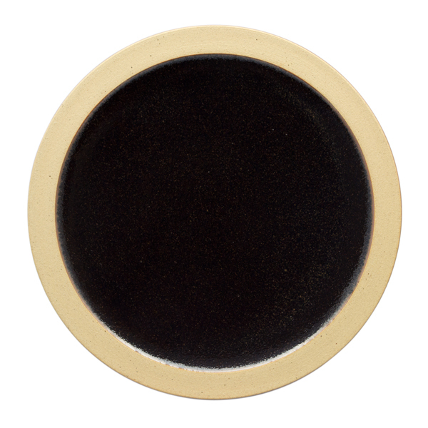 出西窯 縁焼〆皿 6寸 黒