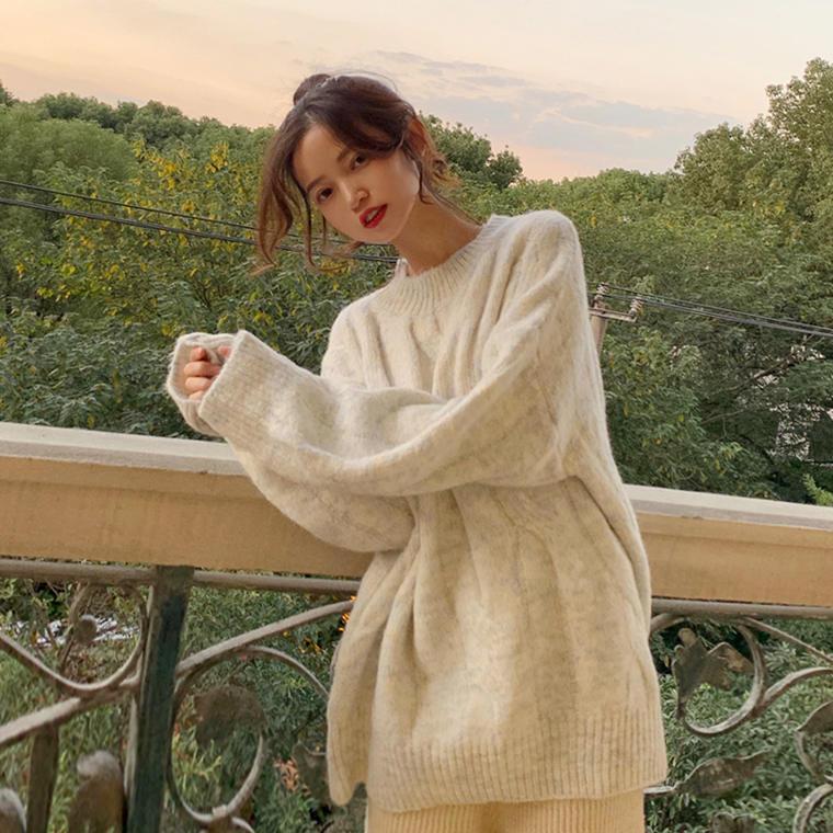 【送料無料 】マーブル ♡ 大人可愛い カジュアル フェミニン ミックスカラー ケーブル編み ニット セーター トップス