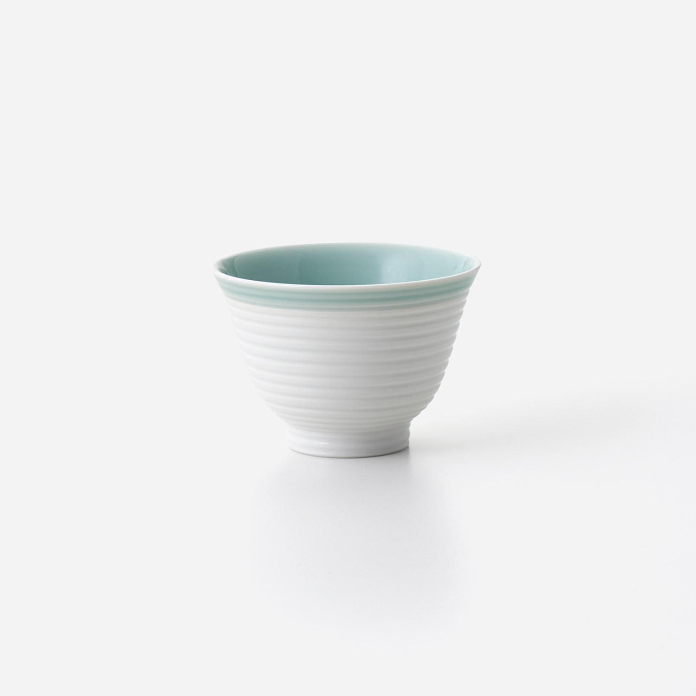 青磁白彩 煎茶碗 (大)