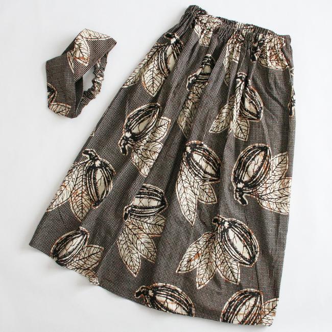アフリカンプリントスカート&ヘアバンドセット/195c/ &JOURNEY orginal