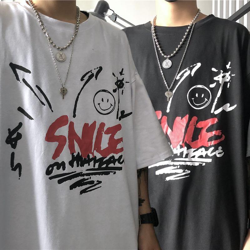 ユニセックス Tシャツ 半袖 メンズ レディース ラウンドネック 落書き風 スマイリー スマイル プリント オーバーサイズ 大きいサイズ ルーズ ストリート