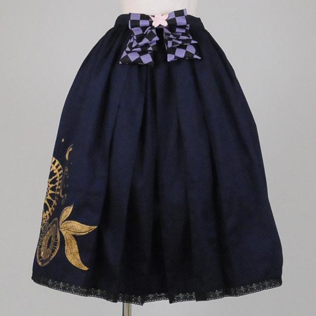 gouk雅 市松リボンの袴スカート GGD25-S910 NV/M