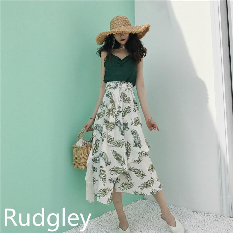 シック 花柄 不規則スカート 韓国