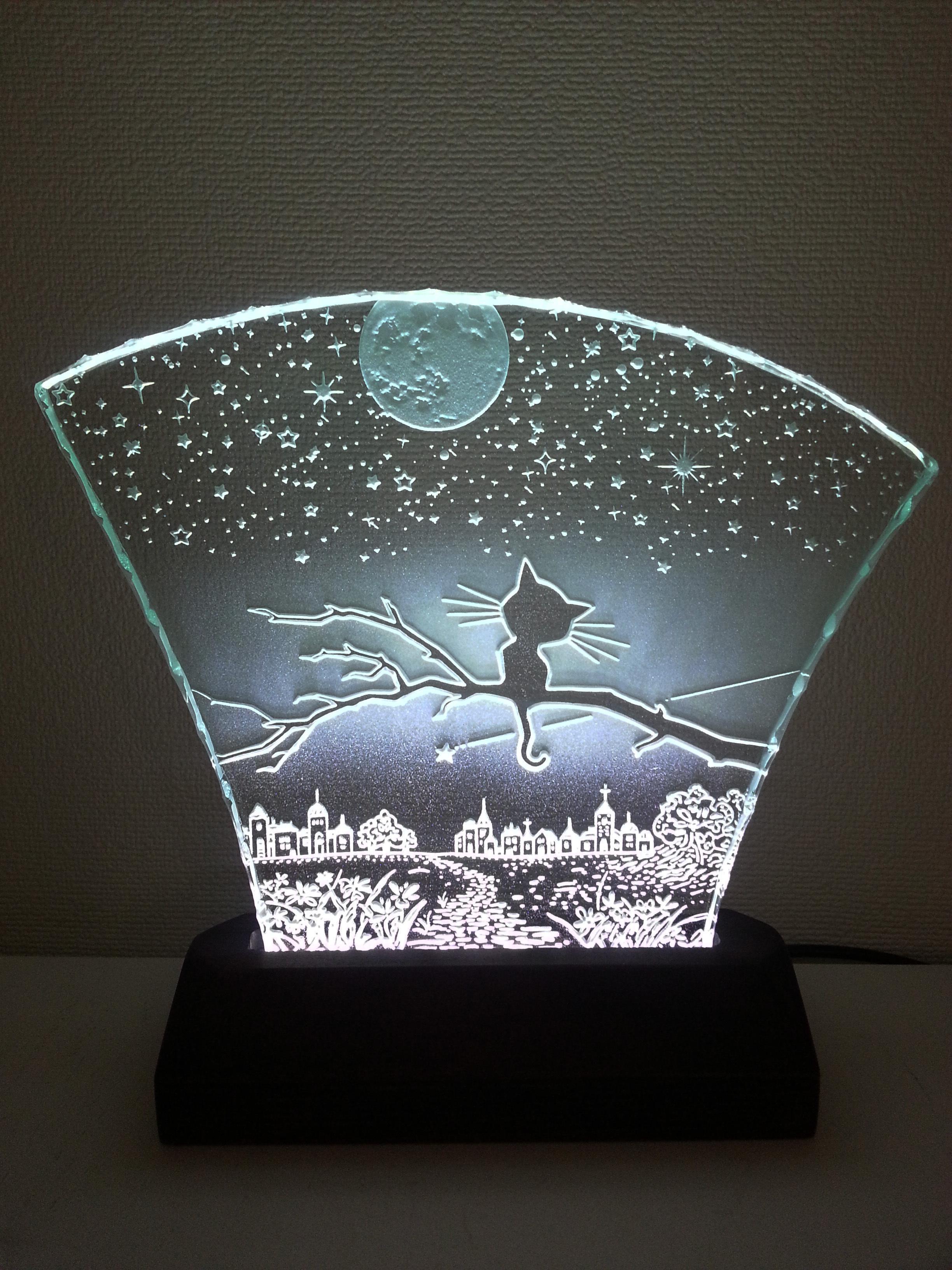 星降る夜・ネコ ガラスエッチングパネル Mサイズ・LEDスタンドセット