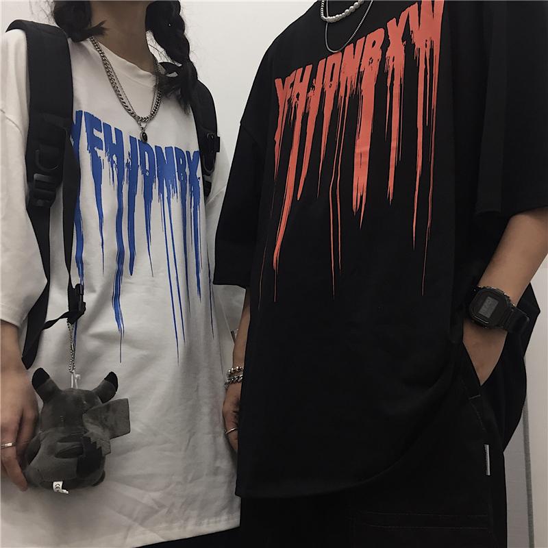 ユニセックス Tシャツ 半袖 メンズ レディース ラウンドネック 英字 スプラッシュインク プリント オーバーサイズ 大きいサイズ ルーズ ストリート