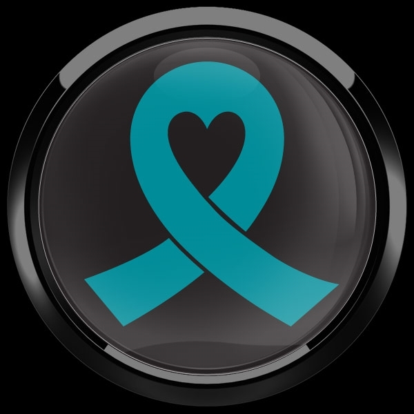 ゴーバッジ(ドーム)(CD0982 - TEAL RIBBON BLACK (OVARIAN CANCER)) - 画像2