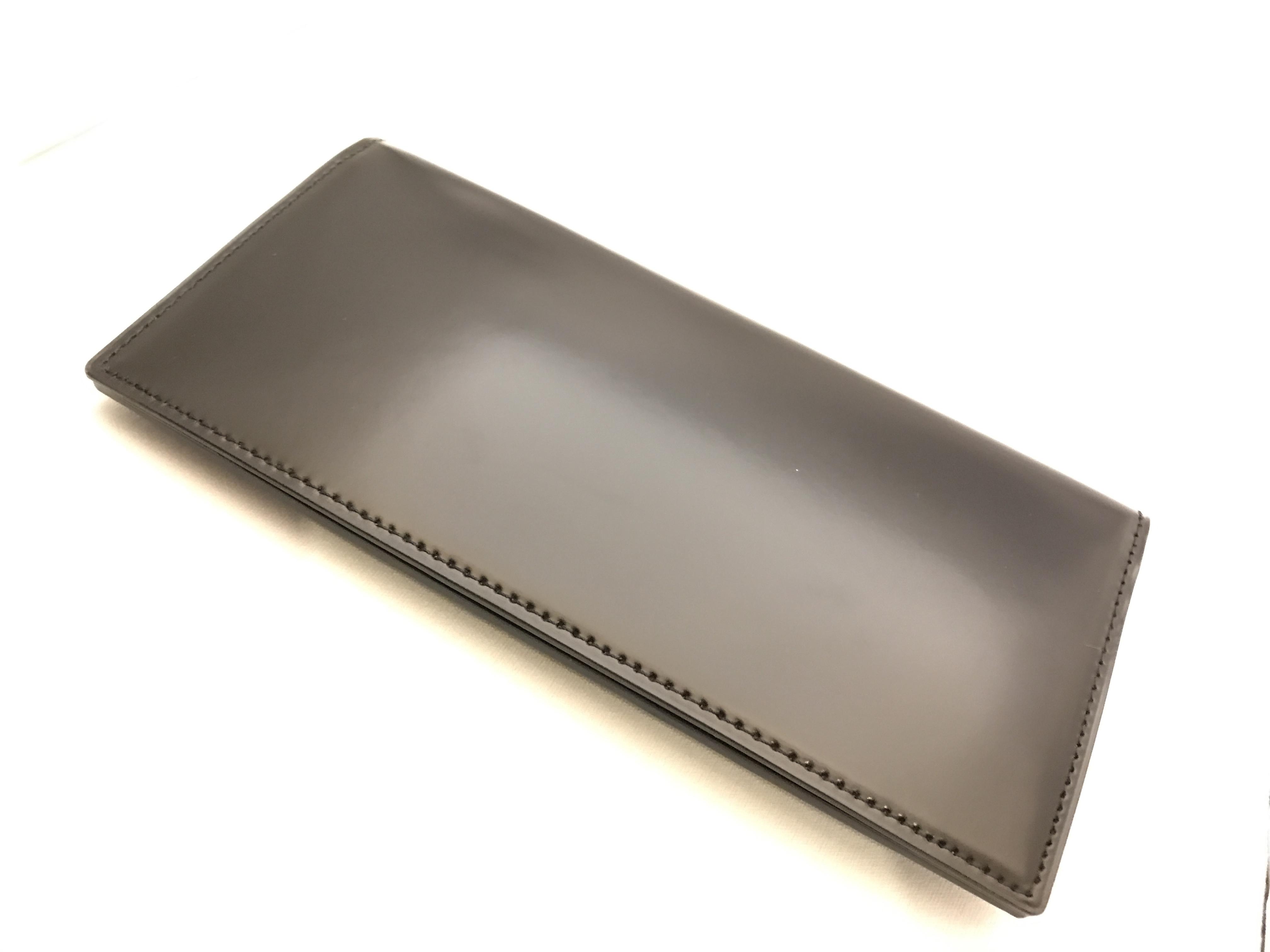 最高級レザーコードバン札入れ財布 ブラック