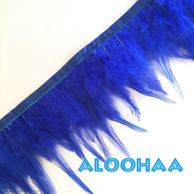 フェザーロール【ブルー】単色10-15cm丈 1m DIY 羽 衣装材料 タヒチアン
