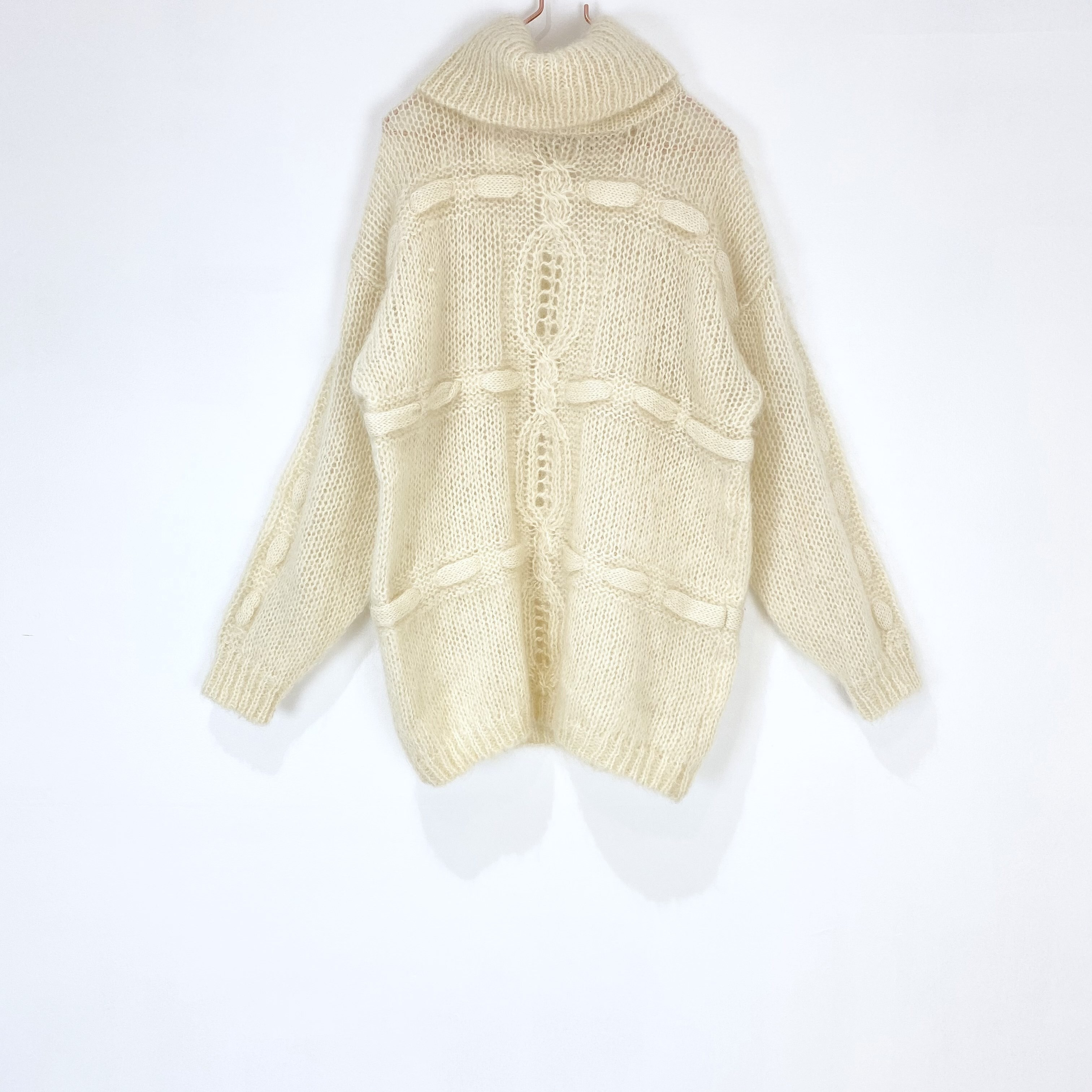 ◼︎90s mohair × wool cable knitting sweater from U.S.A.◼︎