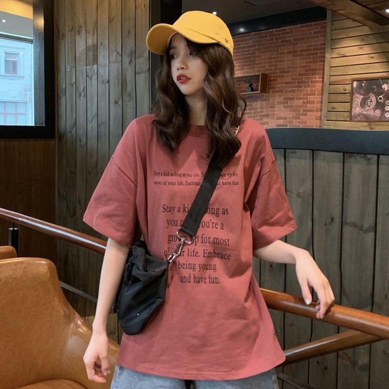 【送料無料】くすみカラー♡ ビッグシルエット 英字ロゴ カジュアル Tシャツ