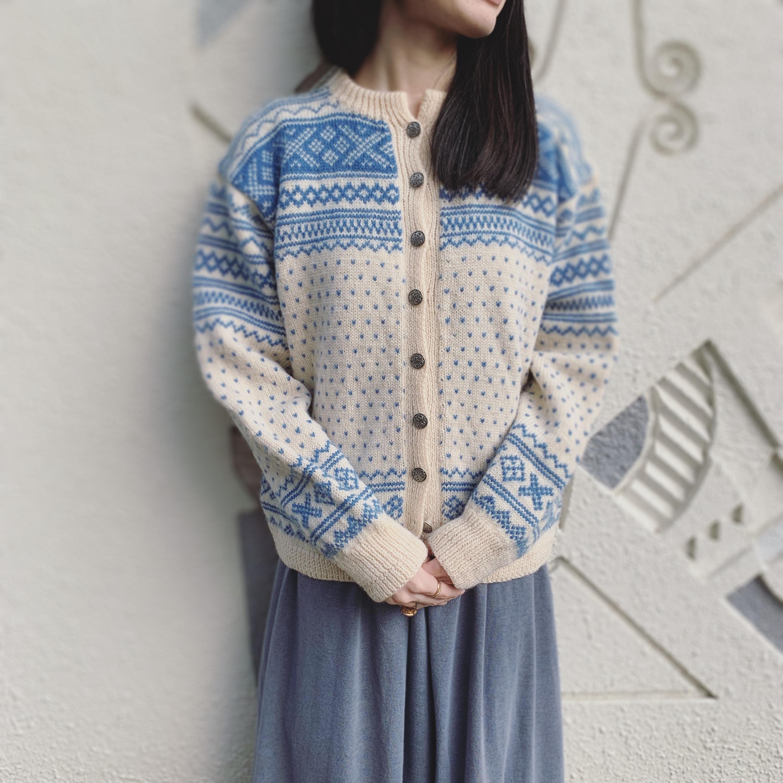 vintage nordic knit cardigan