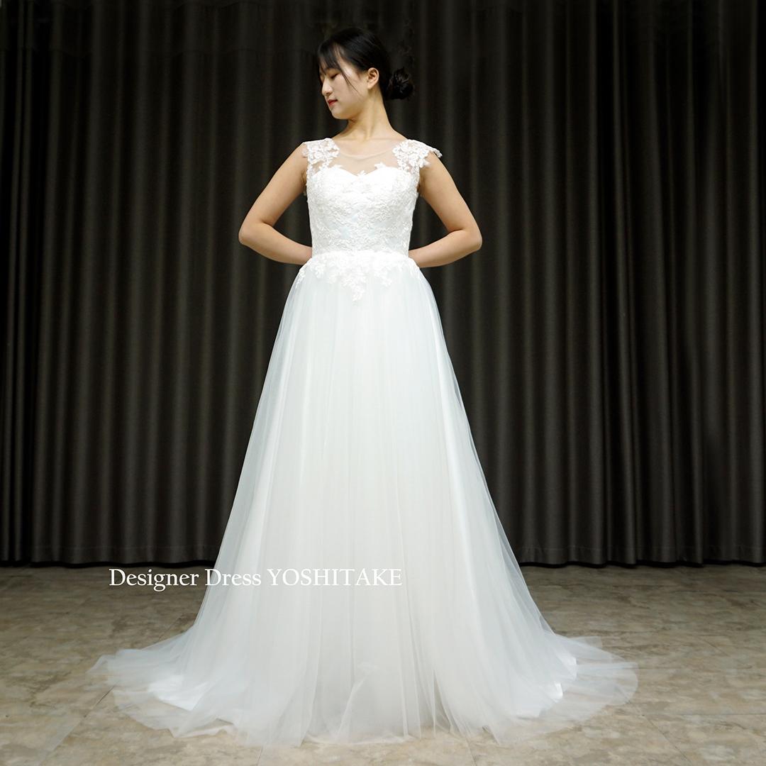 【オーダー制作】ウエディングドレス(無料パニエ) ノースリーブ上半身レース&スカートチュールスレンダー白ドレス/結婚式/フォト婚※制作期間3週間から6週間