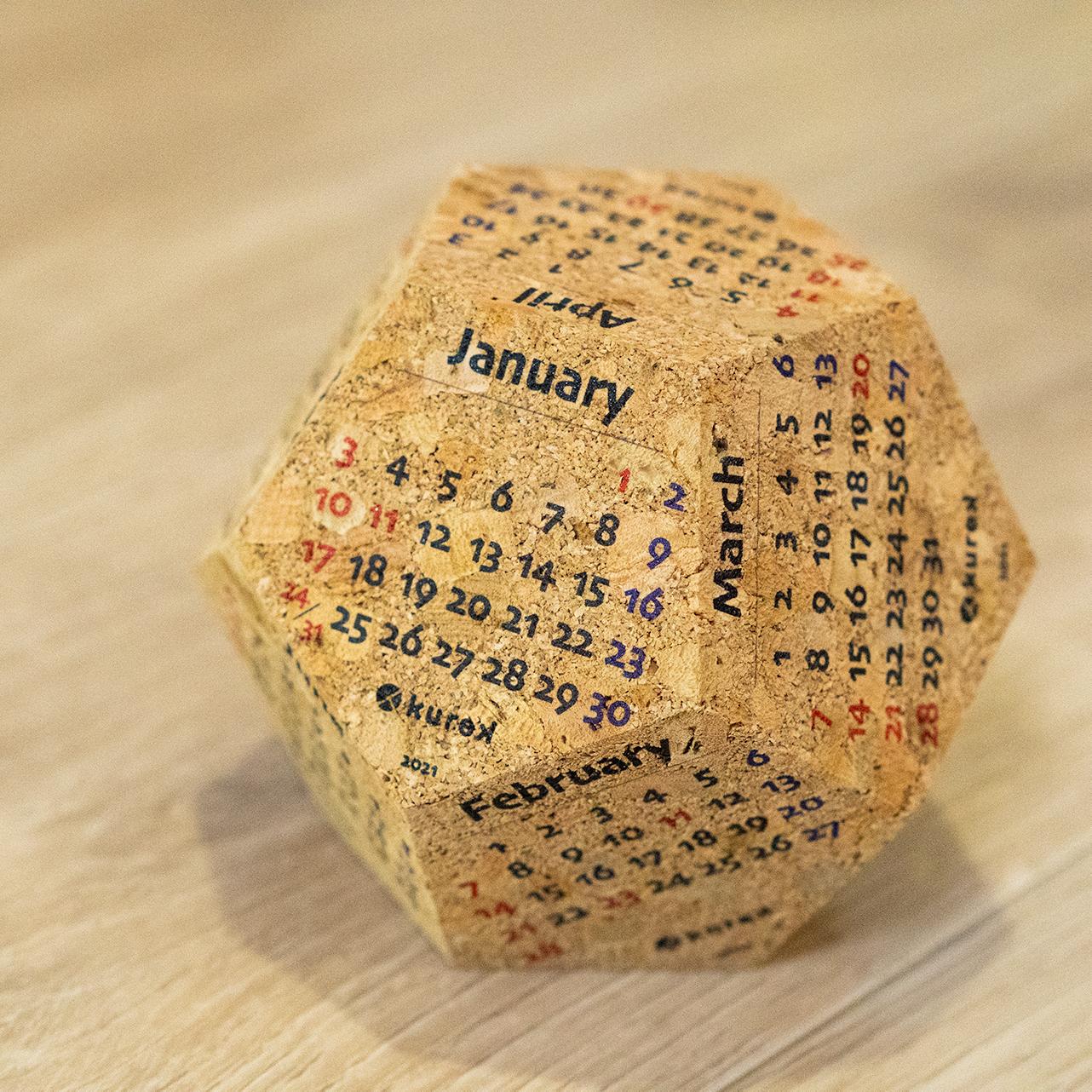 カレンダー(2021年1月~12月) /コルクの立体卓上カレンダー / ナチュラル / ◆12面体カレンダー:バークオブケイ オリジナル 日本製