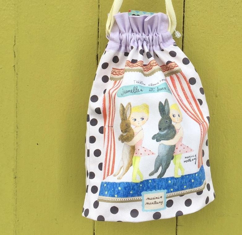 MM.チュチュ巾着「ウサギと双子のバレリーナ」