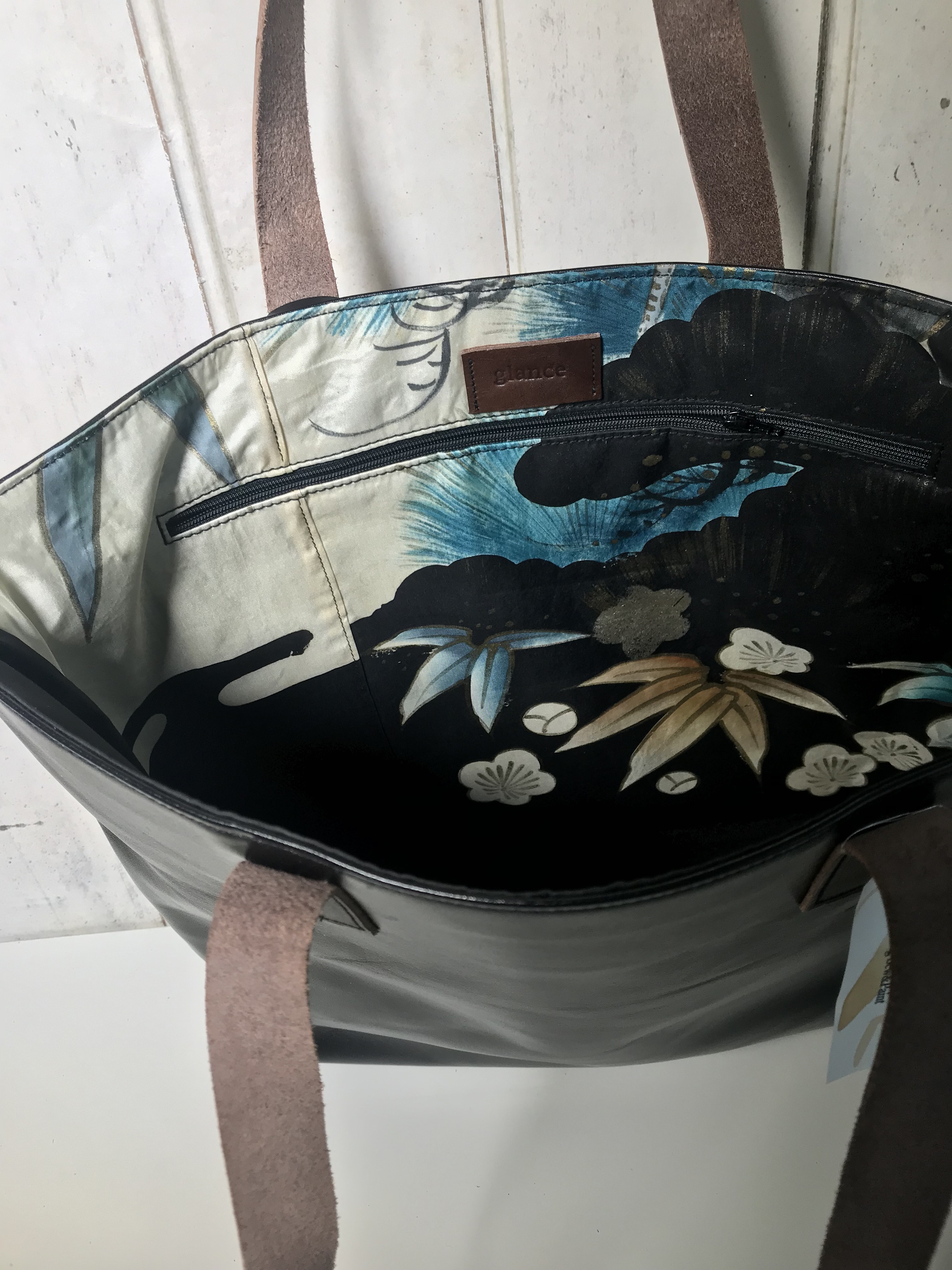 日本古来の縁起物 丹頂鶴の学ランスタイル レザートートバッグ