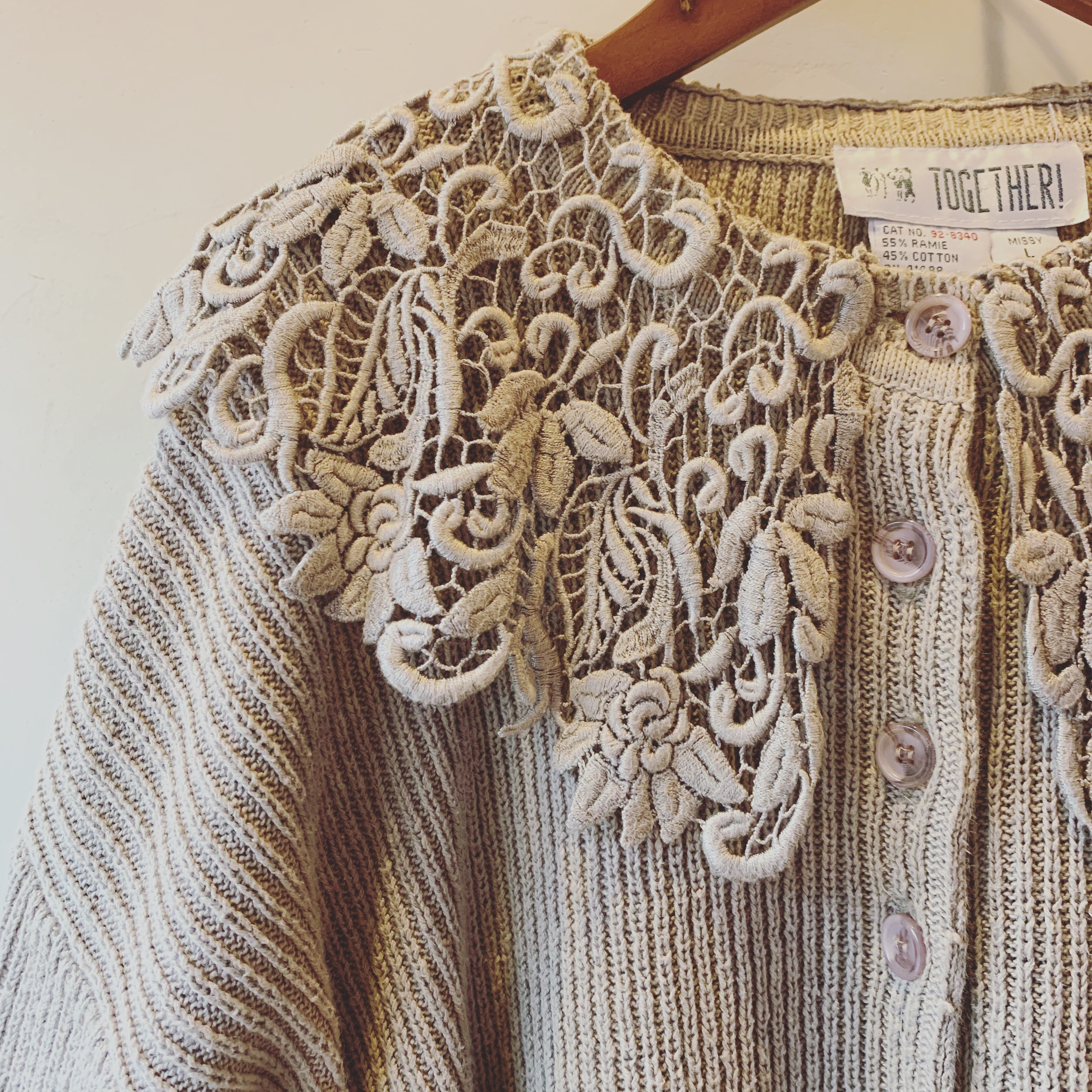vintage lace design cotton knit sweater