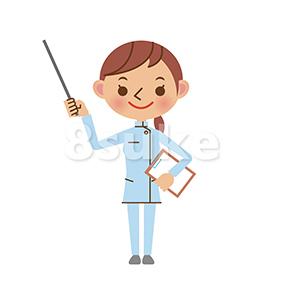 イラスト素材:指し棒を使って解説する介護士の女性(ベクター・JPG)