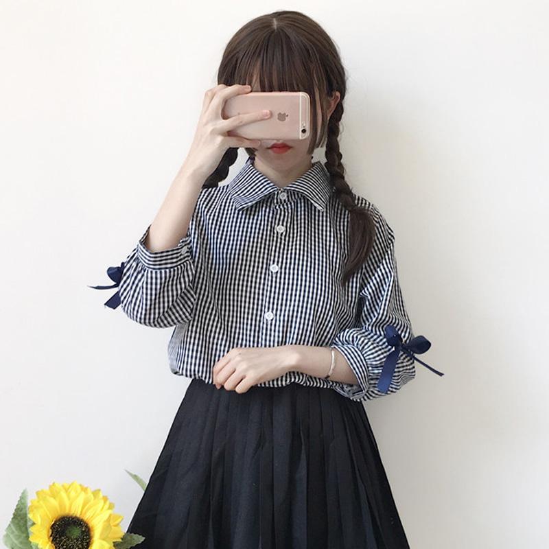 【tops】ガーリー系チェック柄目立つ七分袖POLOネックシャツ17828092