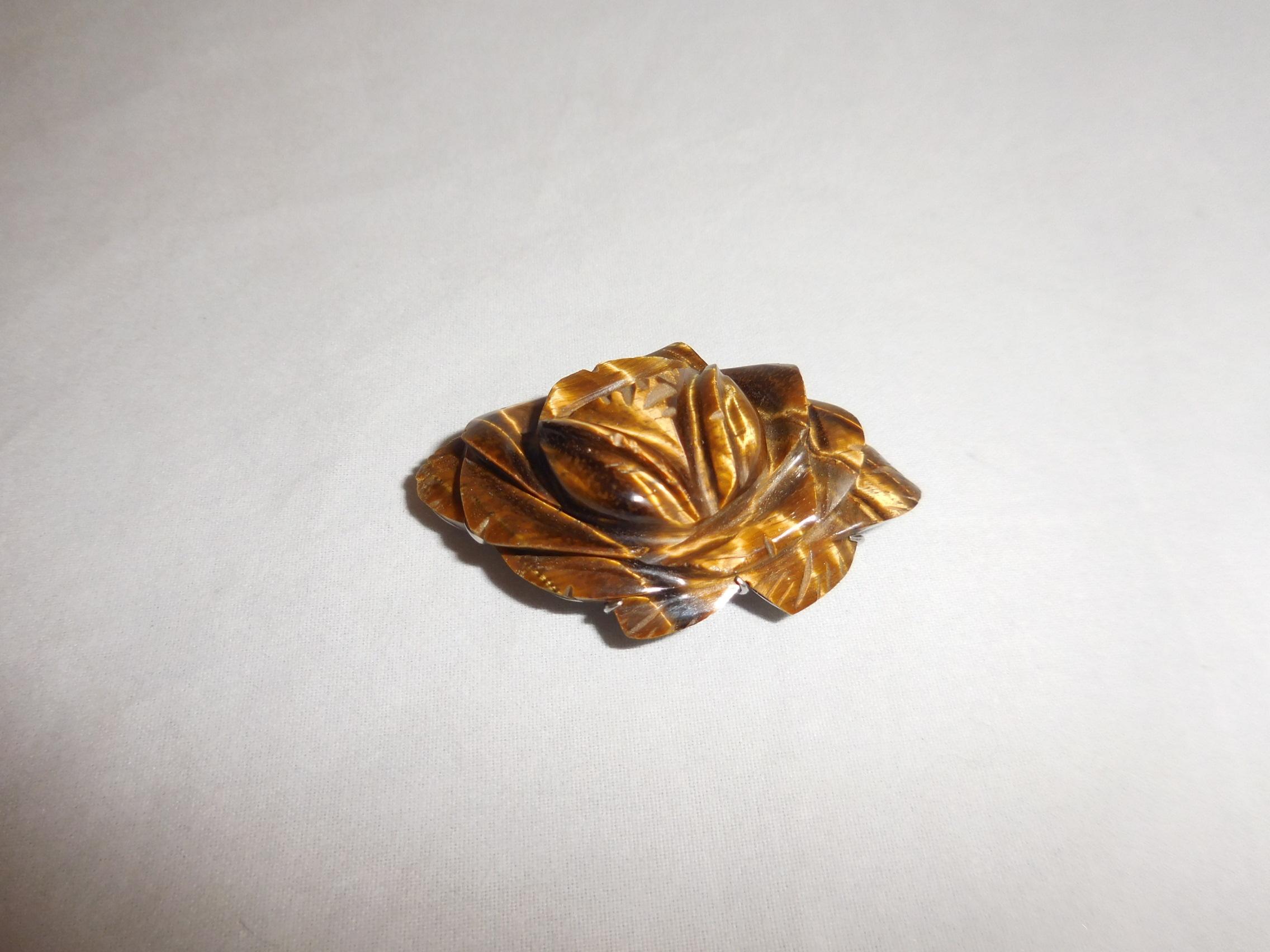 虎目石の帯留 tiger eye stone obi sash clip(flower)