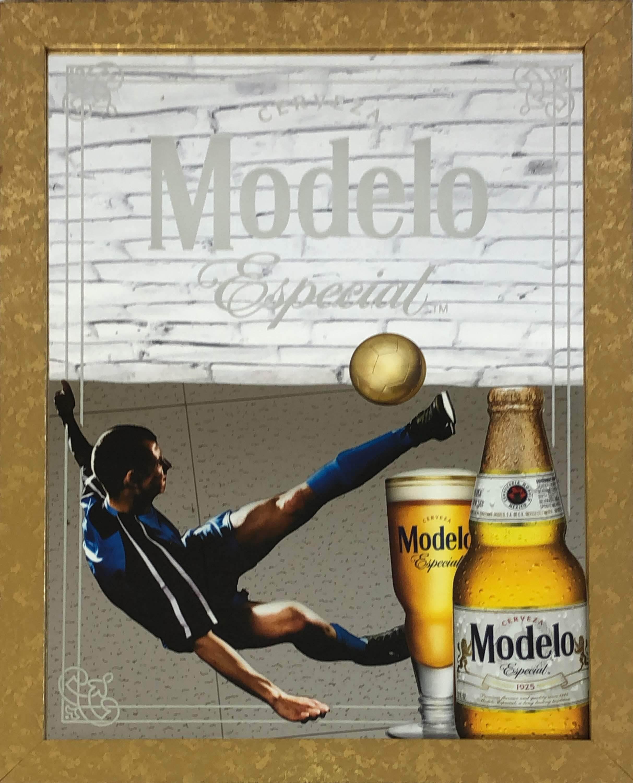 品番0217 パブミラー 『Modelo Especial(モデロ エスペシャル)& サッカー』 壁掛 ディスプレイ アメリカン雑貨