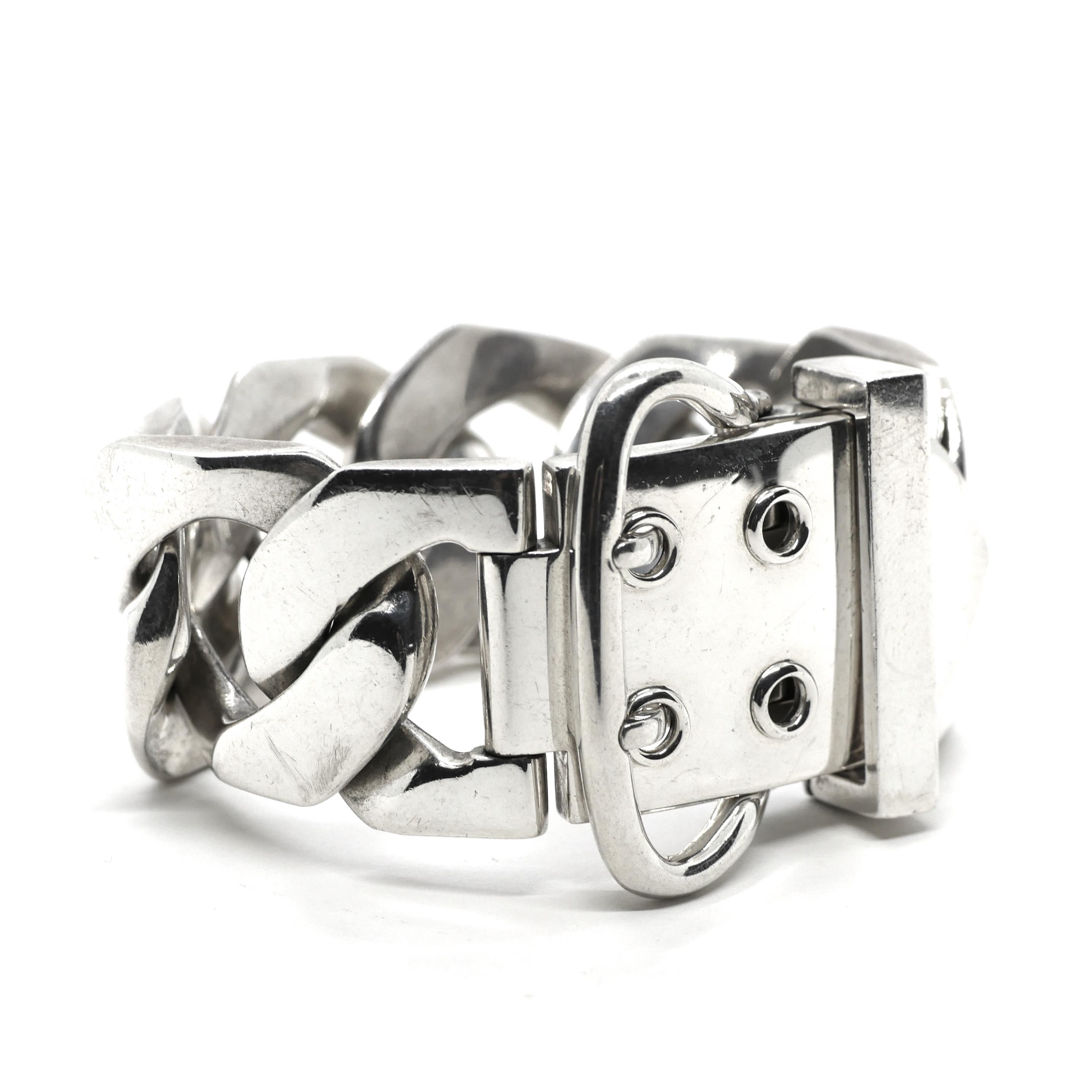 c5d4f16dea77 Hermès Vintage Sterling Silver Boucle Sellier Bracelet TGM   The ...