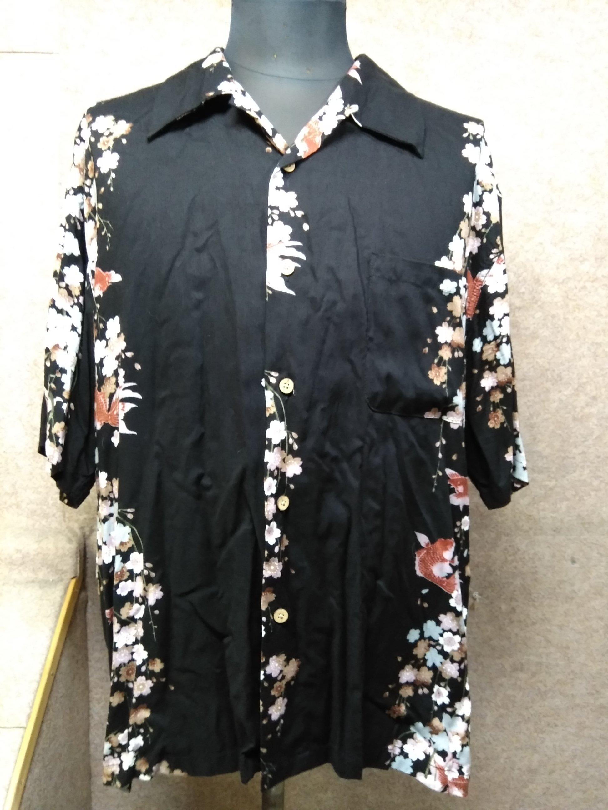 プラスインターナショナル アロハシャツ 4L 和柄 金魚 桜 mu945c