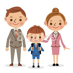 イラスト素材:入学式イメージ/小学生男子+両親(ベクター・JPG)