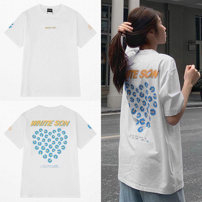 ユニセックス Tシャツ 半袖 メンズ レディース シンプル 日本語メッセージ 花 ハート プリント オーバーサイズ 大きいサイズ ルーズ ストリート