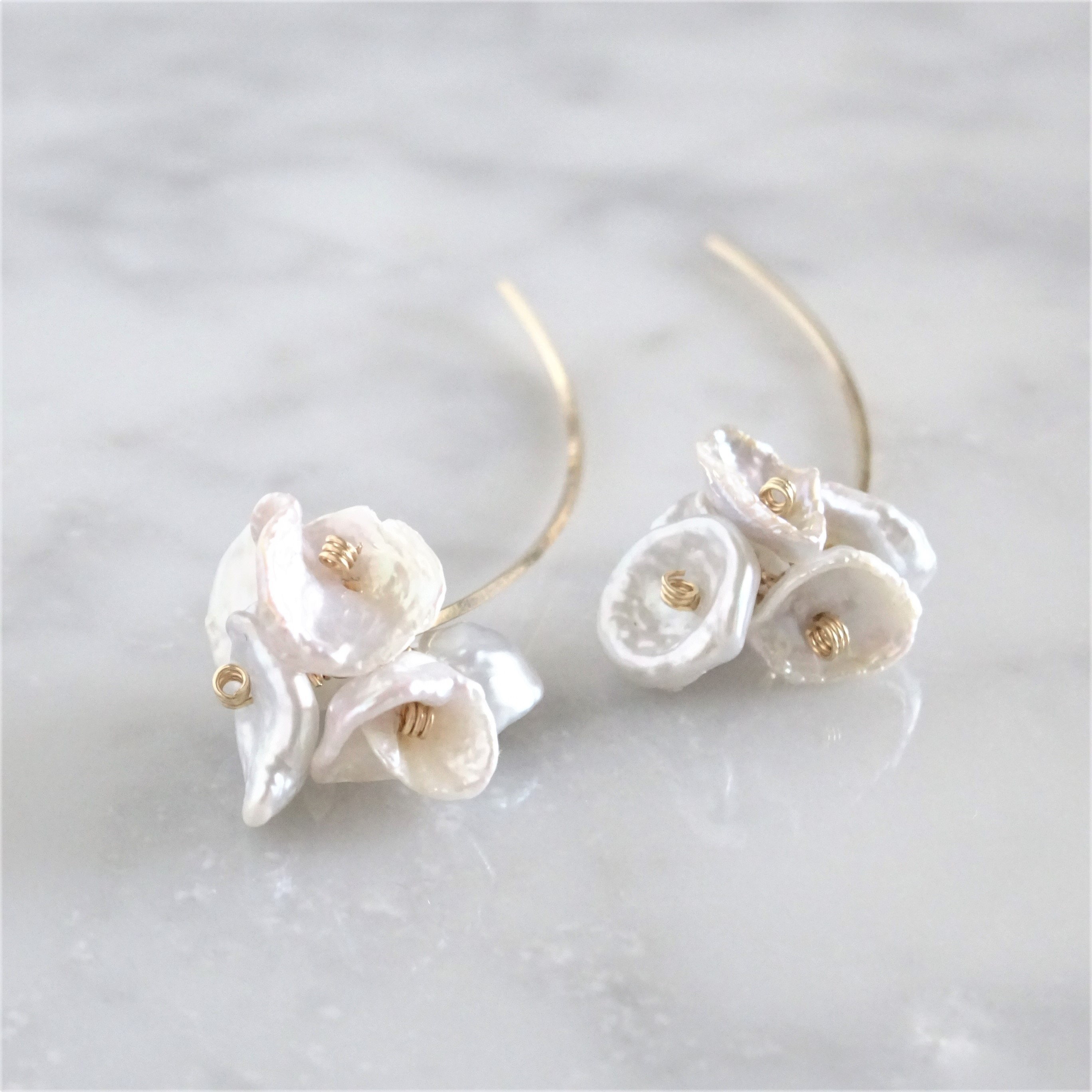 14kgf*Freshwater pearls bloom arrow pierced earring パール