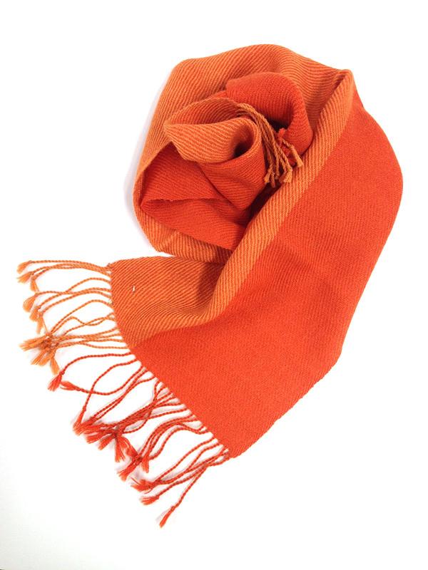 アルパカ100% オレンジ2カラーマフラー