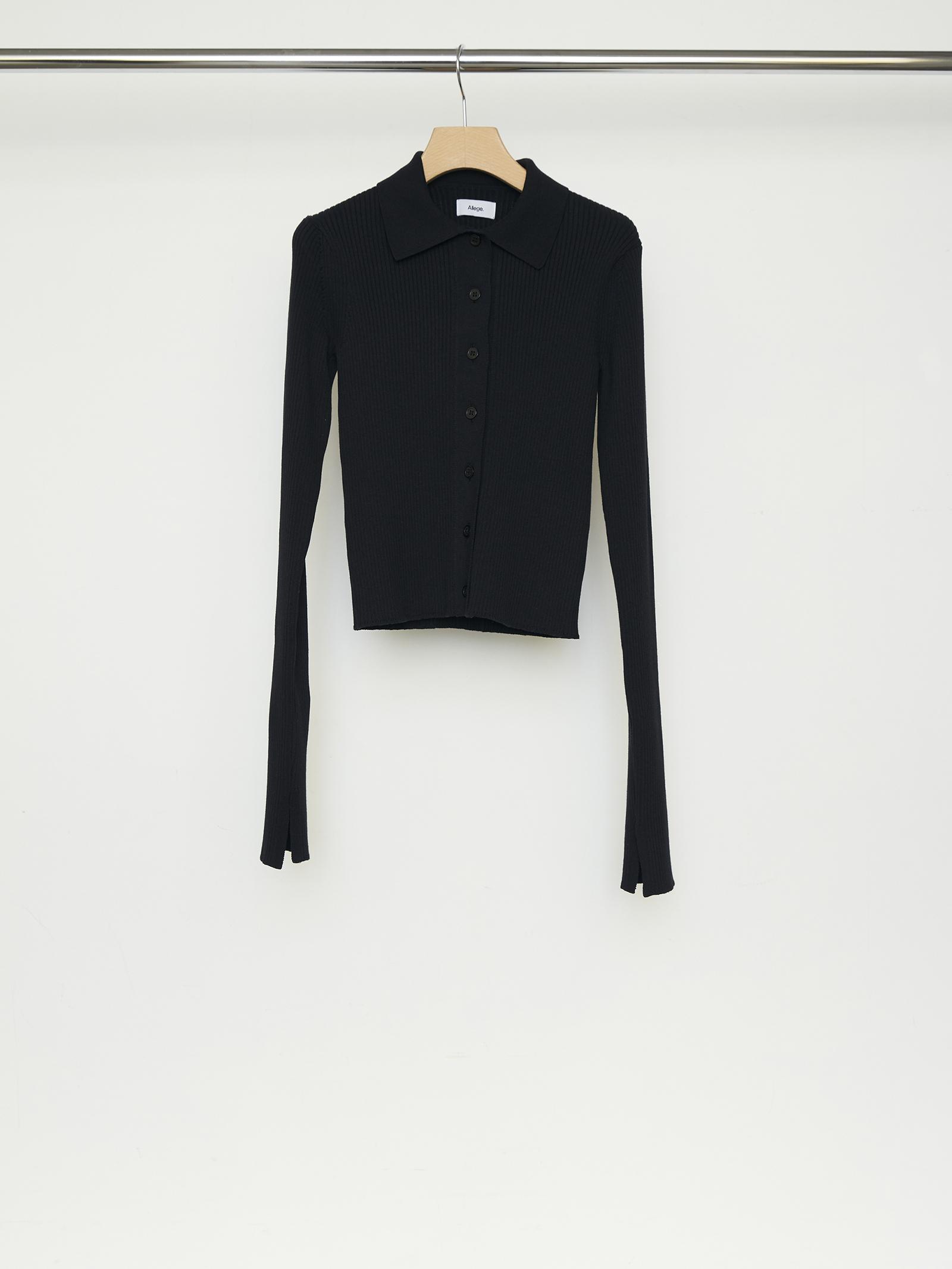 Wide Rib Cardigan - BLACK