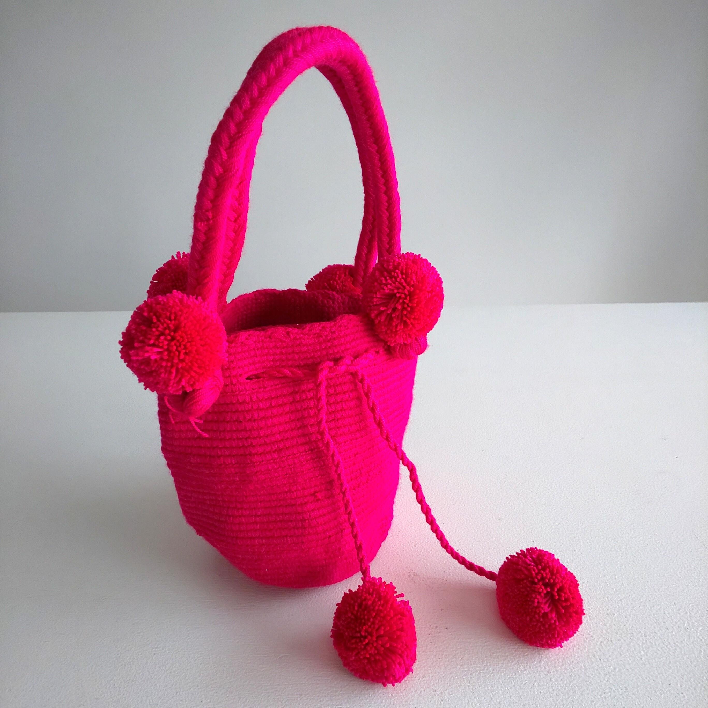 Handmade pom  poms bag - Pink No.2 -