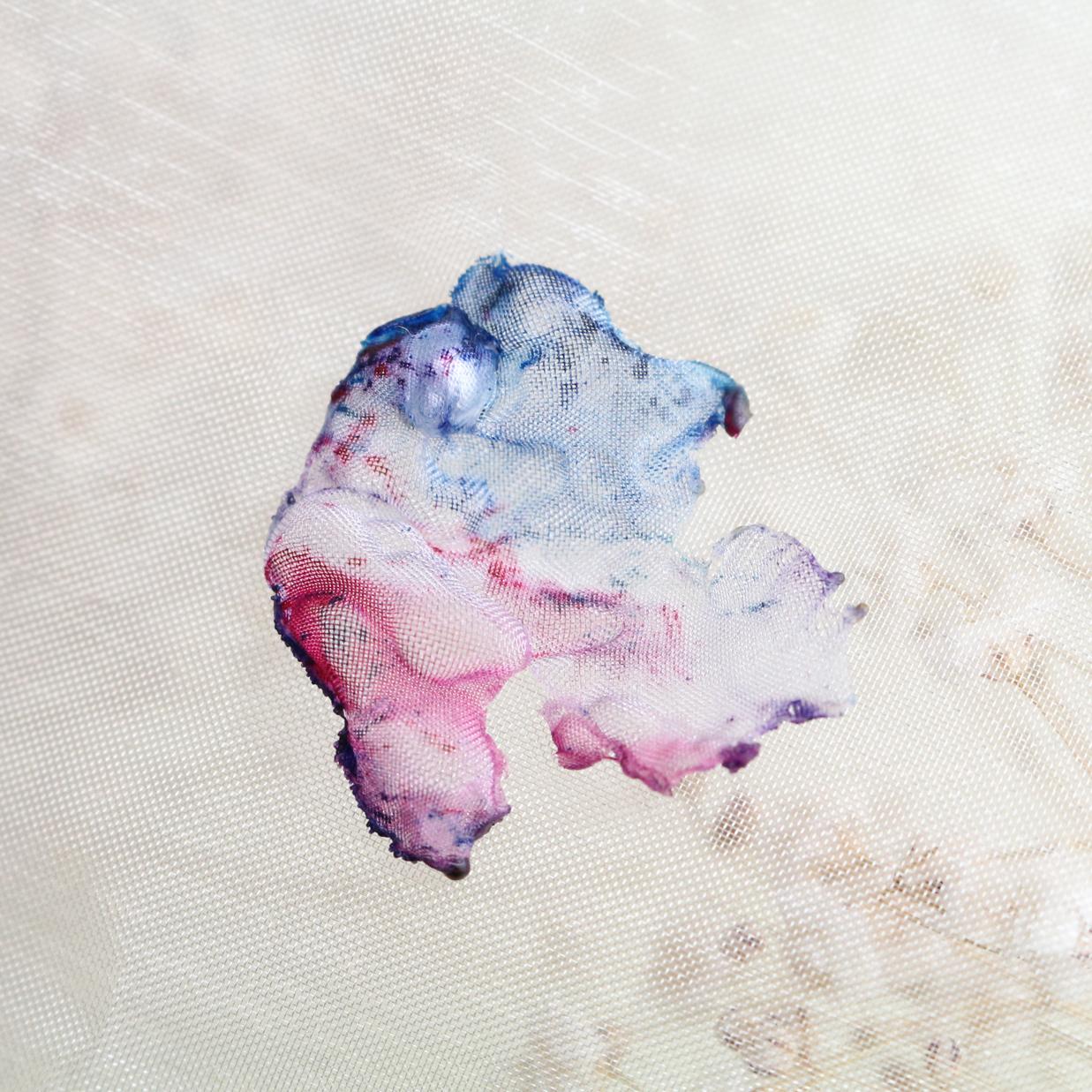 ブルーピンク|染めオーガンジーのアートピアス