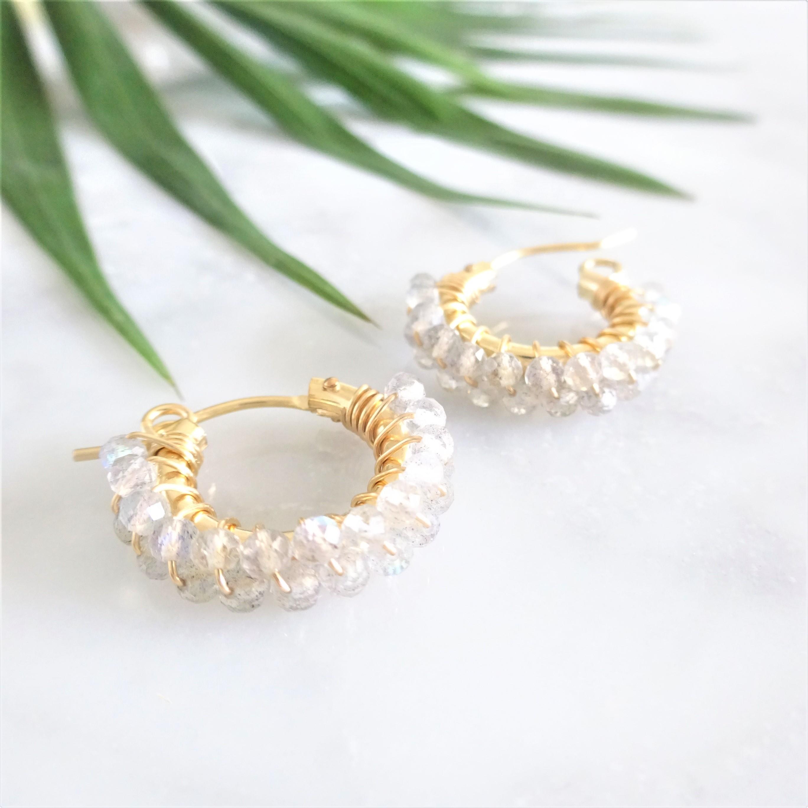 送料無料 14kgf*AAA宝石質 Labradorite wrapped pierced earring/earring