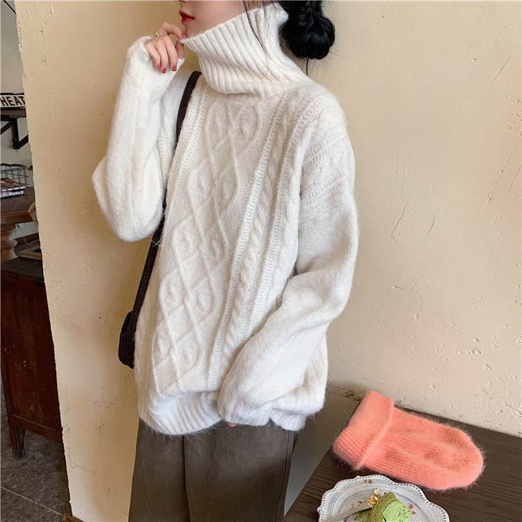 【送料無料】 冬のあったかニット♡ タートルネック ケーブル編み プルオーバー ゆる ニット トップス
