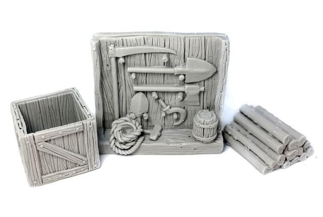農具棚、薪、木箱セット - 画像2