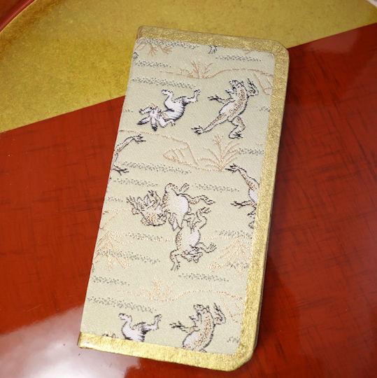 6ddea20bb6 限定☆「手帳型2つ折り」/西陣織スマホケース/鳥獣戯画 【対応機種:iPhoneX】