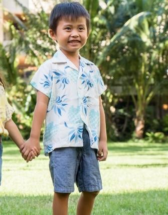 【LeaLea×Kona Bay Hawaii】キッズアロハシャツ(ホワイト)