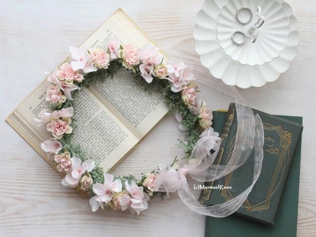 花冠*フリルローズ&アジサイ*スウィートピンク