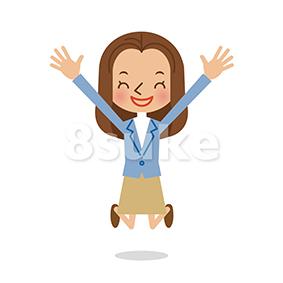 イラスト素材:バンザイをする若い女性(ベクター・JPG)