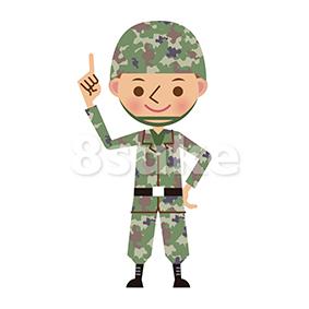 イラスト素材:指差しをする自衛官・軍人(ベクター・JPG)
