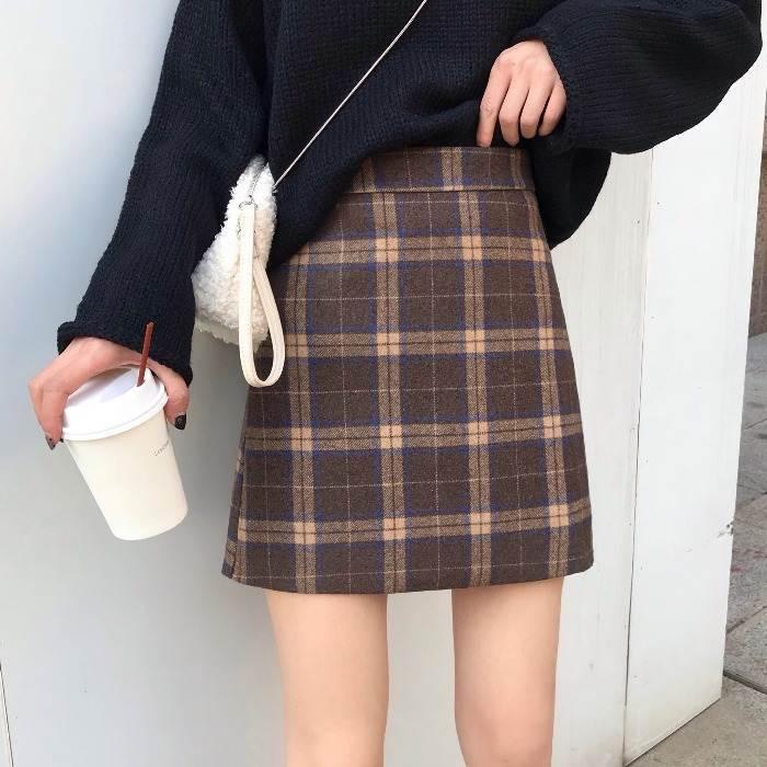 【送料無料】 冬っぽ チェック♡ ハイウエスト チェック柄 ミニ スカート Aライン 脚長 レトロ ガーリー