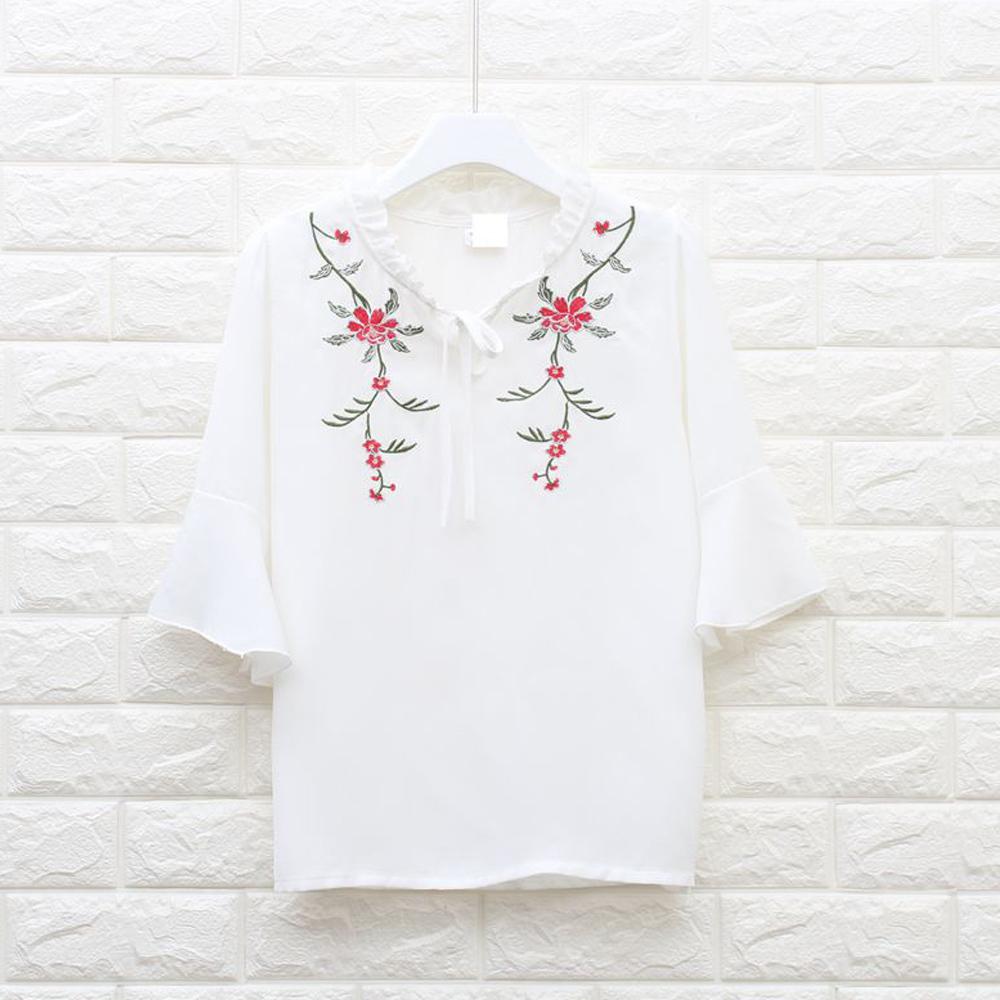 ブラウス 透け感 チェック 即納 レディース トップス 春夏 シャツ ブラウス 半袖 ラッパ袖 刺繍
