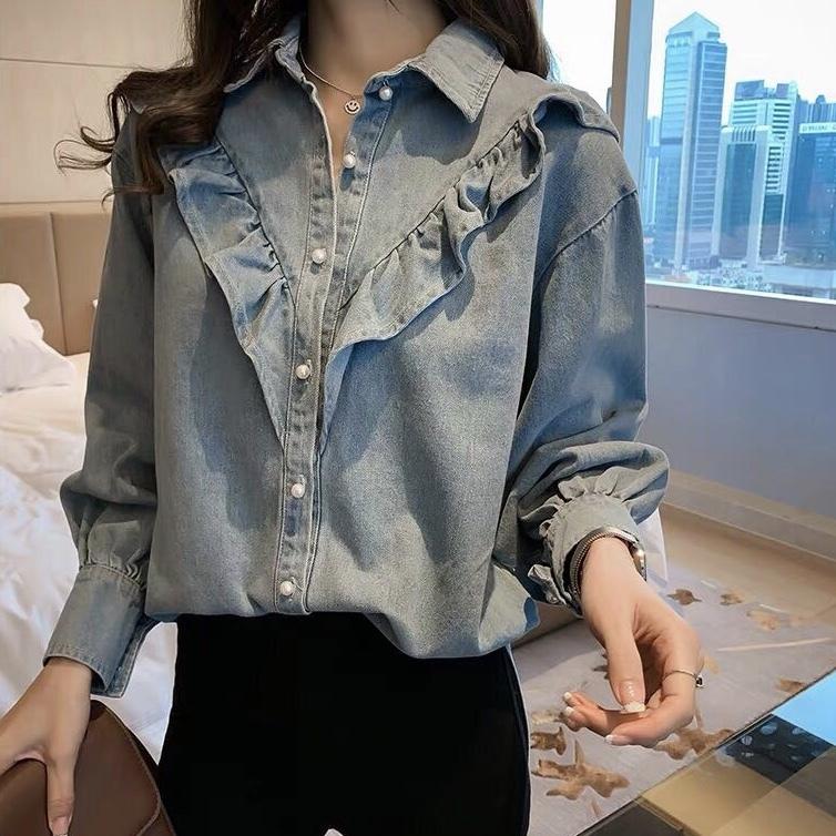 フリル デニムシャツ 2カラーts4110
