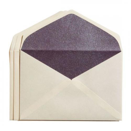 カドをとった二重封筒ダイヤ貼り・洋3(JIS洋1)・雁皮/紫(むらさき)