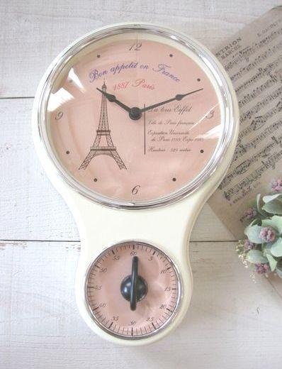 キッチンタイマー付きクロック・時計*エッフェル アイボリー/セレクト雑貨
