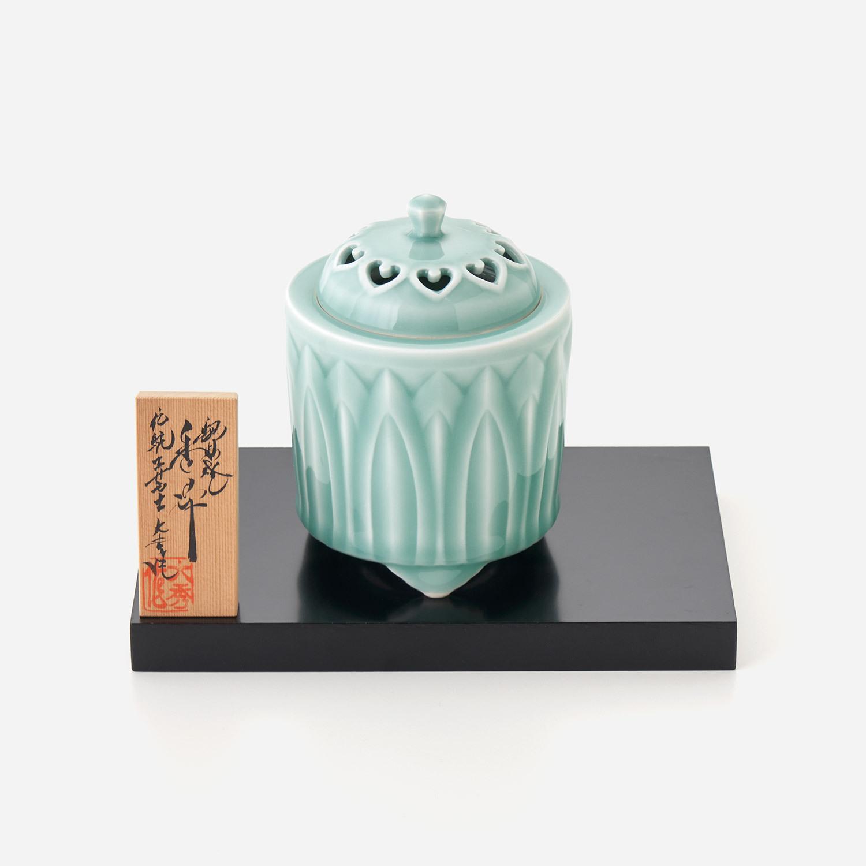 青磁鎬彫 筒型香炉