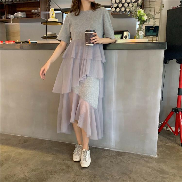 【送料無料】 女っぽ華奢ワンピ ♡ ティアード チュール 透け感 カットソー ロング ワンピース
