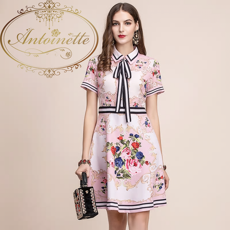 Summer Dress Women's Short Sleeve Bow Flower Print Casual Elegant A Line Dress vestidos