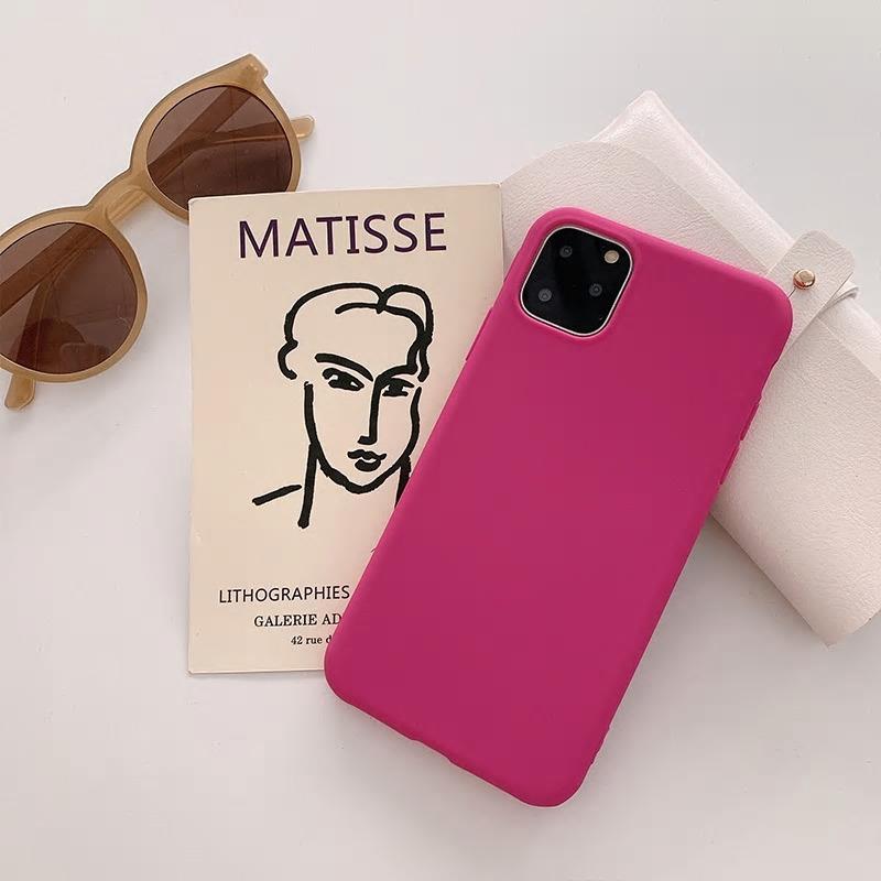 【お取り寄せ商品、送料無料】ローズピンク 無地 マット ソフト iPhoneケース iPhone11